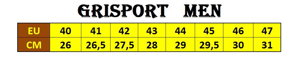Размерная сетка Grisport